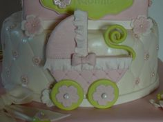 Baby carriage and girly shoes christening — Christening / Baptism