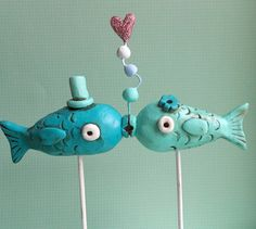 Aqua Kissing Fish wedding cake topper by indigotwinweddings, $65.00