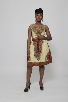 "A beautiful dashiki sundress. Sleeveless, above the knee length with 2 inside pockets. Back zipper fastening.    Extra Small                Bust 33""                     Waist 26""                     Small                         Bust 34-35""                   Waist 29-30""                Medium                     Bust 36-38""               Waist 30-32""            Large   Bust : 39"" - 41  Waist: 32"" - 34    XLarge   Bust: 42""- 44""  Waist : 38""-40    XXL  Bust: 44"" - 46""  Waist: 42"" -44 