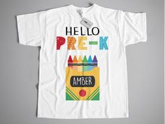 Personalized Pre-k Shirt Hello PreK First Day of School   Etsy