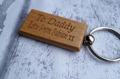 wooden keyring the day you became fathers day mothers day