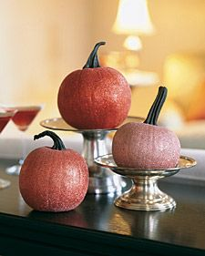 These decorations bring sparkle to tables and serving areas -- and they last far longer than jack-o'-lanterns. Thanksgiving table decor