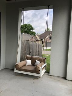 Swing Beds, Porch Swing, Manila Rope, Wooden Rocking Chairs, Wooden Swings, Hanging Rope, Exterior Paint, Acre, Paint Colors