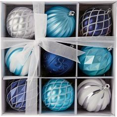 Pack of 9 Blue & Silver Baubles at Homebase -- Be inspired and make your house a home. Buy now.