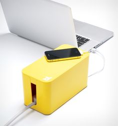 Bluelounge CableBox Mini Cable Organiser Yellow