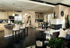 Black hardwood, black trim. Kitchen
