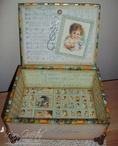 Altered Cigar Box- Inside by EmGee458 - Cards and Paper Crafts at Splitcoaststampers #collage #boxes #altered #decoupage