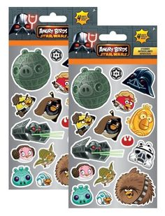 Angry Birds Star Wars Party Favors Stickers Pack ~ 8 Sheets Angry Birds