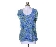 Apt. 9 Blue Aqua & Green Floral Ruffle Trim Lined Scoop Neck Top Size L #Apt9 #Blouse #Casual