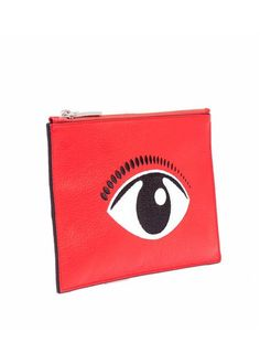 Kenzo Red Embroidered Eye Leather Pouch
