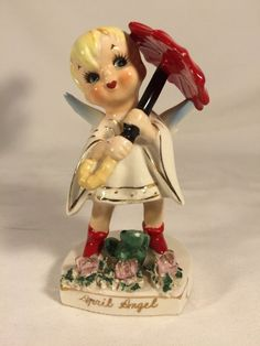 Lefton 'April' Birthday Boy Angel w/Umbrella and Frog Figurine #556