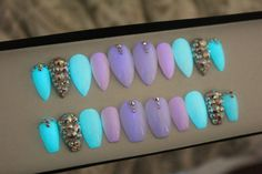 Glow In The Dark Press on Nails | False Nails | White Nails | AB Swarovski Crystals | Fake Nails | Custom Shapes Sizes by DippyCowNails on Etsy