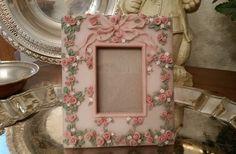 Vintage  Dezine Hand Painted Floral Frame Ltd by TheBouncingFrogs
