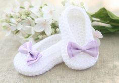 Crochet Baby Ballet Slippers - Crochet Baby Booties - White Baby Ballet Flats - Handmade Fashion Baby Shoes Booties - MADE TO ORDER on Etsy, $18.00
