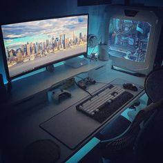 Having a best rigs for gaming setup is everyone's dream. This gamer's guide will show you 50 best gaming setup, enjoy! Computer Desk Setup, Gaming Room Setup, Pc Desk, Computer Workstation, Custom Gaming Desk, Best Pc Gaming Setup, Computer Gaming Room, Gaming Computer Desk, Gamer Setup