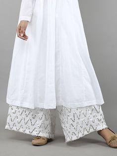 White Cotton Mulmul Ijar Pants