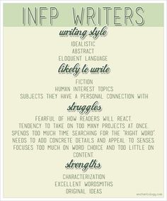 How being an INFP affects how you write - http://www.enchantology.com/2013/02/infp-writers.html