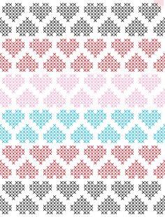 Crochet Heart Border Fair Isles 47 Ideas For 2019 Cross Stitch Bookmarks, Cross Stitch Heart, Simple Cross Stitch, Cross Stitch Borders, Cross Stitching, Cross Stitch Embroidery, Embroidery Patterns, Cross Stitch Patterns, Mosaic Patterns