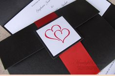 wedding, pocket fold, invitation, stationery, handmade, handcrafted, black, white, custom, unique, intertwined hearts, invite, card, embossed, thermography,
