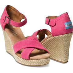 TOMS Pink Hemp Women's Strappy Wedges Size 9.5 ($69) ❤ liked on Polyvore