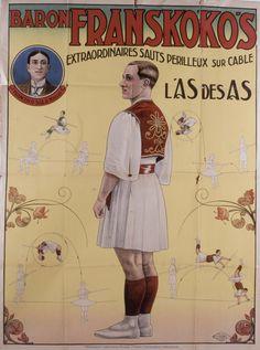 Baron Franskokos : Extraordinary perilous jumps on cable, Anonymous, 1900-1925. Biblioteca Valenciana Digital, Bivaldi. Public Domain.