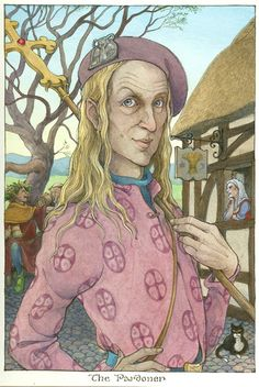"Original illustration of ""The Pardoner"" from Canterbury Tales, written by Barbara Cohen and Illustrated by Trina Schart Hyman 