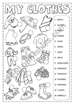 The clothes - Listening Language: English Grade/level: Elementary School subject: English as a Second Language (ESL) Main content: Clothes Other contents: clothing English Activities For Kids, Learning English For Kids, English Lessons For Kids, Kids English, Learn English, English Class, English For Beginners, English English, Spanish Activities
