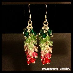Sterling Silver and Swarovski Crystal Chainmaille Earrings by DragonweaveJewelry, $80.00