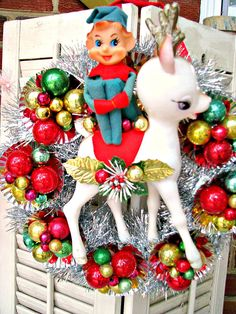 Vintage Elf and Riding a Deer Kitsch Christmas Wreath