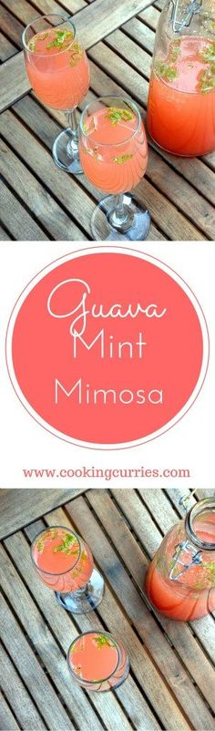 Every brunch needs a good mimosa and this Guava Mint Mimosa will be your new favorite! Check out more brunch recipes at www.cookingcurries.com
