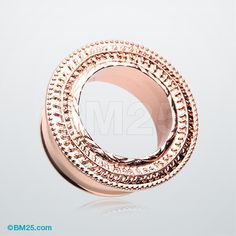 A Pair of Rose Gold Entice Filigree Ear Gauge Tunnel Plug