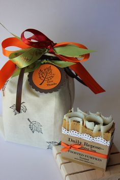 THANKSGIVING SOAP SET Hostess Gift Pumpkin Cider Pecan Or Fireplace Scented Give Thanks on Luulla
