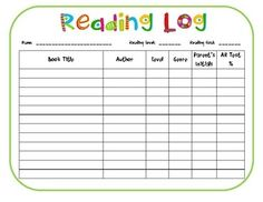 Our Cool School My First Reading Log  Reading Opportunities