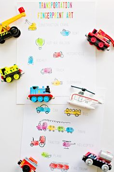 Transportation Vehicles Fingerprint Art. Two pages of free printables to use as guide for making cute and fun fingerprint art with kids in the shape of their favorite transportation vehicles like cars, trucks and trains!