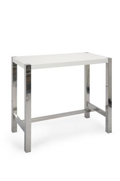 ER-1080-18 Riva Bar Table White High Gloss Lacquer Brushed Stainless Steel by Moe's Home Collection. Contemporary bar table in high gloss lacquer with brushed stainless sleet base. Seats 4. Perfect for condos or apartments.Dimensions (inches): 47W, 24D. 41H. Weight: 56 lbs