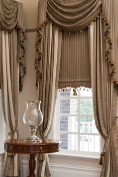 Custom Drapes with Swag & Tails paired with Traditional Bonded Roller Blinds by O'Gormans Curtains And Draperies, Luxury Curtains, Curtains Living, Curtain Valances, Swag Curtains, Window Drapes, Classic Curtains, Elegant Curtains, Beautiful Curtains