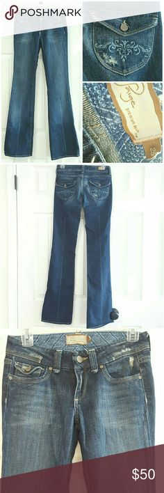 """Sale❤️ Paige Pico' Flap Pocket Low Rise Jean Jeans are 98% cotton 2% Lycra. They have distressed look on waistband front pockets and both back pockets. Embroidered design on both back pockets see photo.  Front rise 7 """" back rise is 12"""". Inseam is 34 1/2"""". Light color fold line on both legs.    *Gently washed and worn.  *Condition: Good, used, functional could be one/few minor flaws. No noticeable rips or stains. We try to note every flaw but sometimes we miss the smallest ones please be…"""