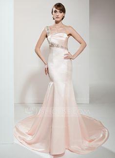 7781f0c260c Trumpet Mermaid One-Shoulder Chapel Train Satin Evening Dress With Beading  (017022530) · Plus Size WeddingChapel ...