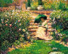 The Athenaeum - Woman Reading in a Garden (Richard Edward Miller - No dates listed)
