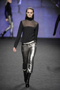 Silver leather pants by C'N'C Costume National RTW Fall - Milan 2012 Photo by Giovanni Giannoni/WWD