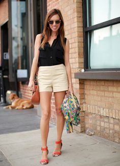 Sydne Style how to wear khaki shorts Victorias Secret black button down sleeveless shirt summer casual style