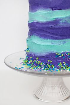 Turquoise and purple birthday cake