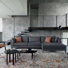 Canapé gris avec méridienne, Calligaris Banquette, Decoration, Sofas, Relax, House Design, Couch, Living Room, Interior Design, Modern