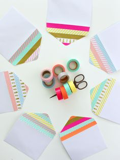 fancy envelopes with washi tape Duck Tape Crafts, Washi Tape Crafts, Paper Crafts, Fancy Envelopes, Duct Tape Flowers, Fun Mail, Wallet Tutorial, Envelope Design, Crafty Projects
