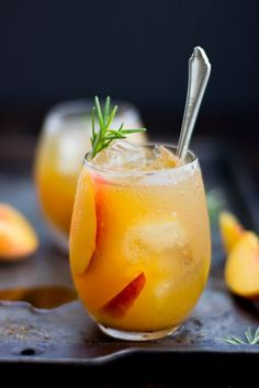 Maple and sea salt give an earthy, smoky contrast to the sweet peaches in this rosemary peach maple leaf cocktail.