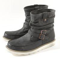 【9折優惠↘】EDWIN 超輕量拋黑工藝皺摺牛皮短靴 男款 黑色