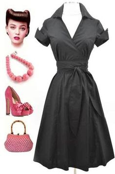 50s Style Black LUCY Pinup WRAP Dress w/Collar Turn-Up Cuff Sleeves & SASH Belt