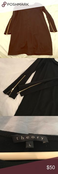 Theory Black Bodycon Dress with Zipper Sleeves Beautiful Black Long Sleeve Black Dress with Gold Zippered Sleeves. This is an amazing dress to wear all year round and can be subtle with tights or sexy with high heels and a bold red zip! Only wore once. Material is soft and stretchy. Willing to negotiate and next day shipping. Make an offer 😘 Theory Dresses Long Sleeve