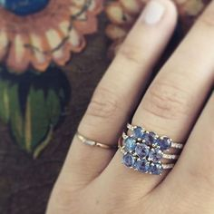 a trio of Painter's Blue sapphires