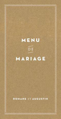 menu de mariage la déclaration  #kraft #wedding www.rosemood.fr